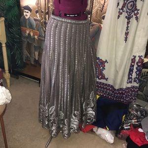 Vintage Silver Maxi Skirt